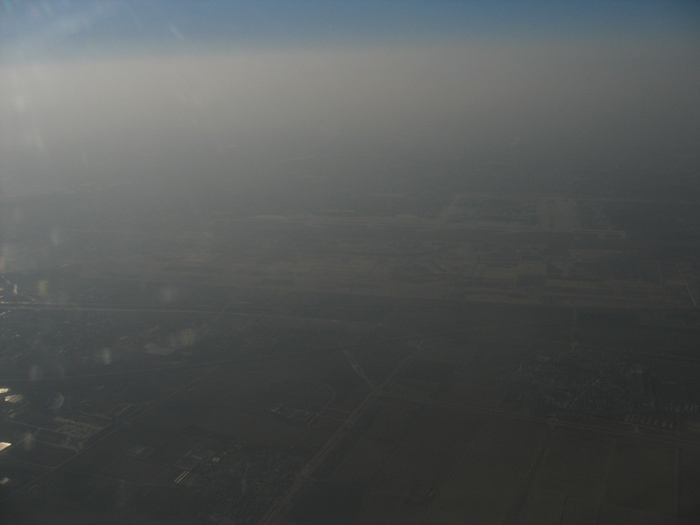 Air Pollution China - Beijing Airport, looking east
