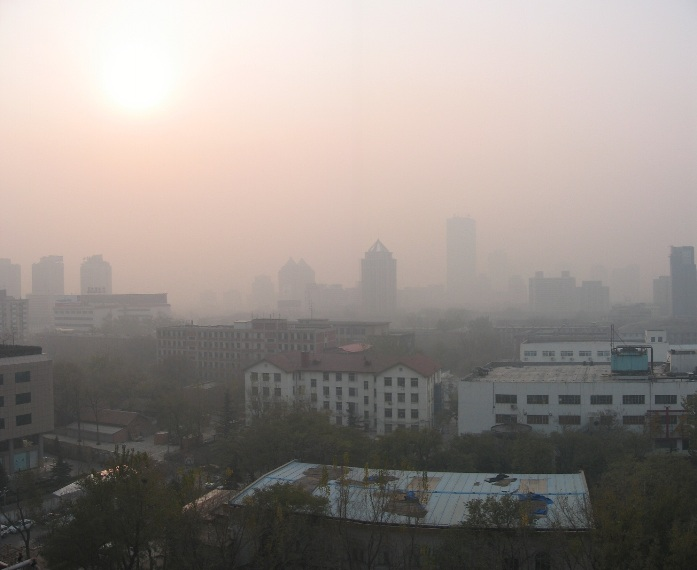 Air Pollution China - Central Beijing looking north