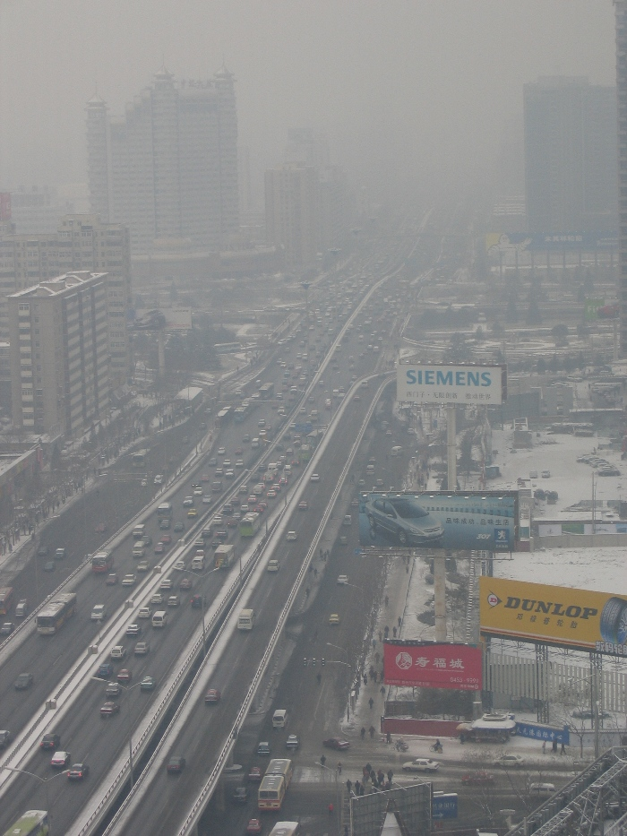 Air Pollution China - Beijing East 3rd Ring Road from Hilto looking north