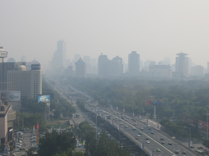 Air Pollution China - Beijing East 3rd Ring Road from Hilton looking south