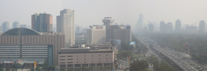 Air Pollution - Beijing panorama looking south along 3rd Ring Road from Hilton Hotel