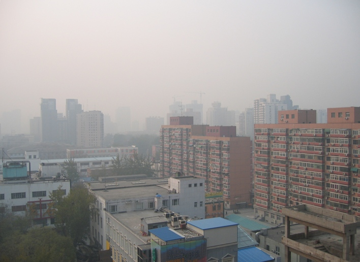 Air Pollution China - Central Beijing area looking east southeast