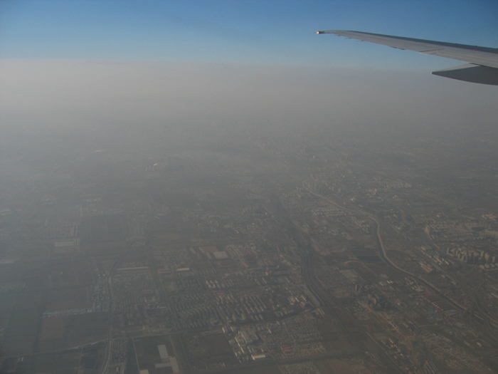 Air Pollution China - Air pollution over the Shuanqiao area of eastern Beijing