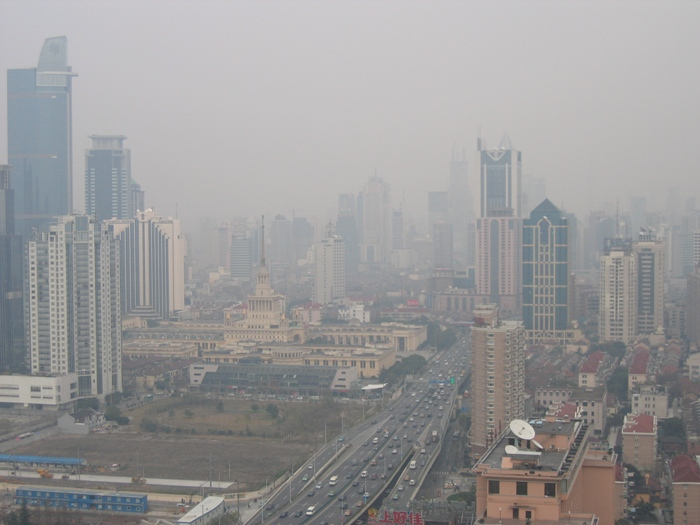 Air Pollution China - Shanghai Yanan District looking east along Yanan Expressway from Hilton