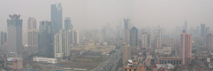 Air Pollution - Shanghai Panorama Yan'an Elevated Expressway looking East from 32th floor Hilton, Yanan District