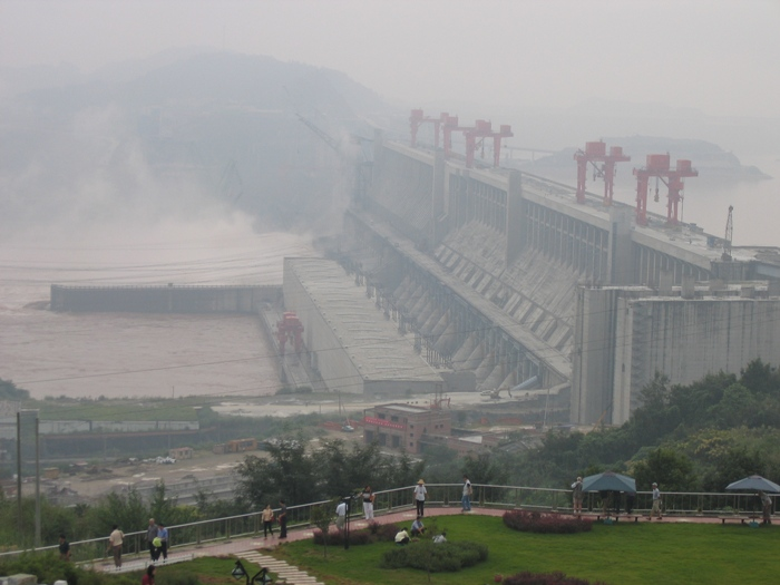 Air Pollution China - Three Gorges Damm looking southeast (near Yichang)