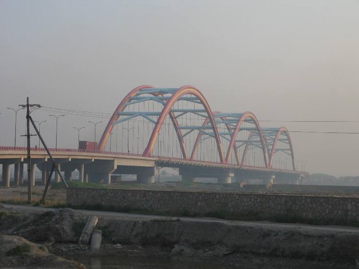 Air Pollution China - Rainbow Bridge Beitang, Bei Tang Fu Jin de Cai Hong Da Qiao, outside of Tianjin