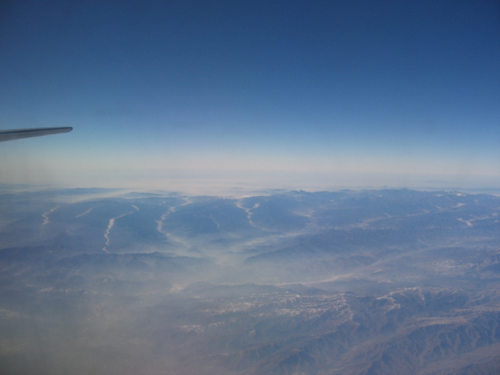 Air Pollution China - View of air pollution in the tributary valleys about 1 hour northeast of Xian