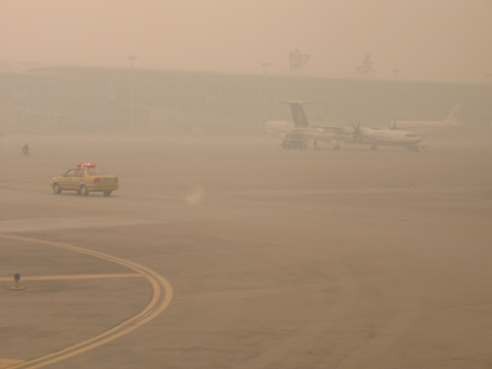 Air Pollution China - Xian Airport looking south