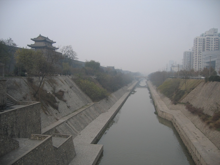 Air Pollution China - Xian City Wall, East Gate bridge looking north. Visiblity about 1.5 miles (2.4 km)