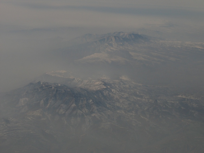 Air Pollution China - View of Mt. Lishanzhen and Henghezhen about 75 miles east of Xian, looking north