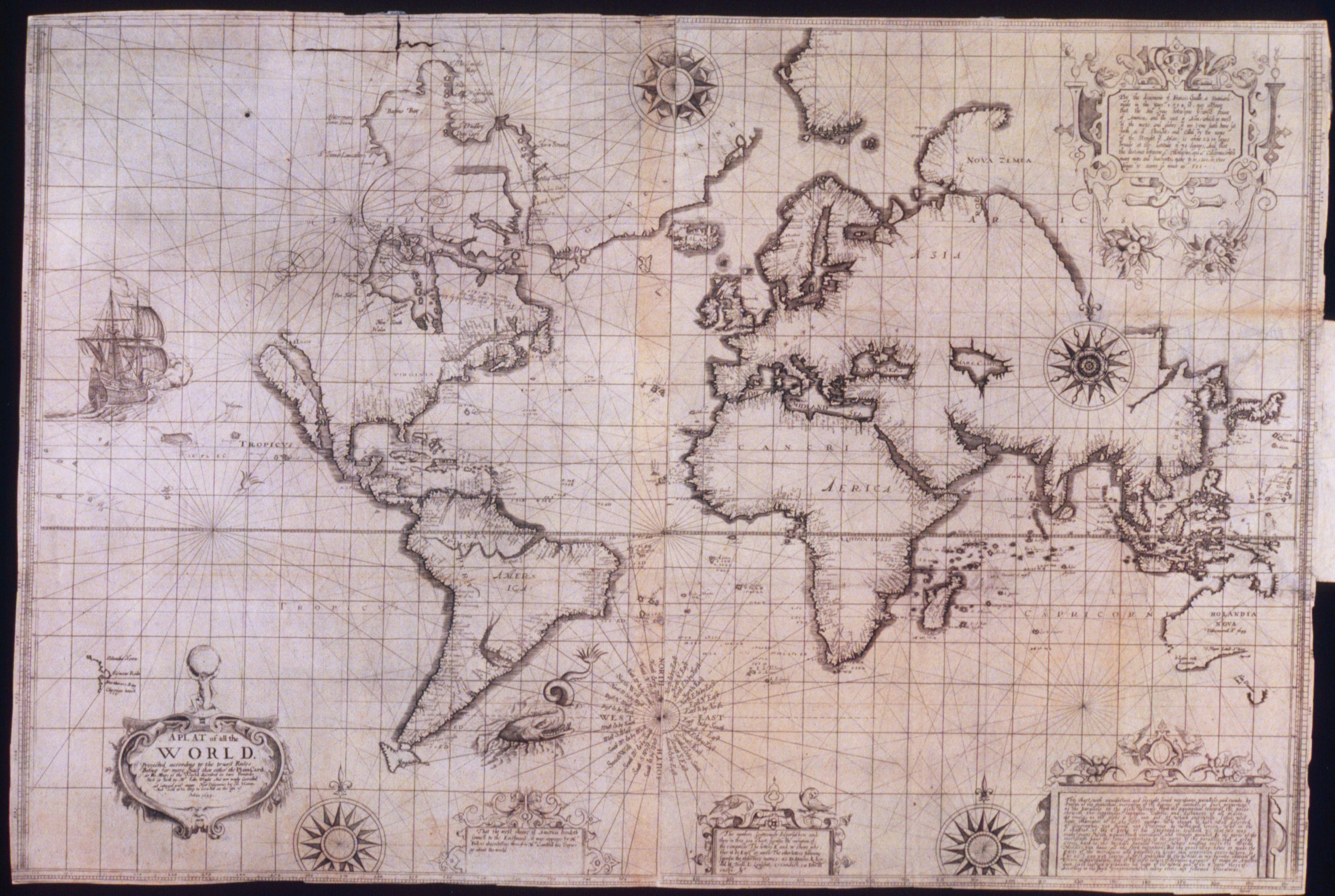 Photo the 1599 map by Edward Wright and Emery Molyneux of England titled Chart of the World and early mapping of Western Australia