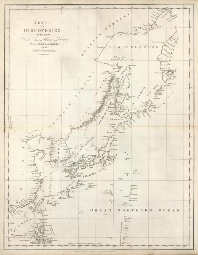 Photo of the ca. 1787 map titled Chart Discovery In the Seas of China and Tartary by G.G. & J. Robinson