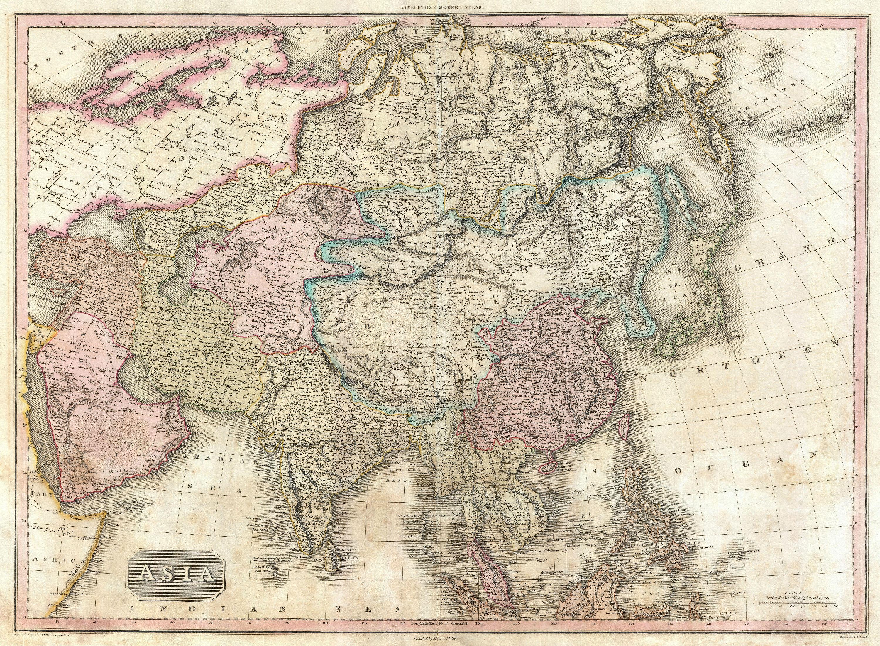 Map of Asia from Pinkerton's Modern Atlas, 1818 (Library of Congress)