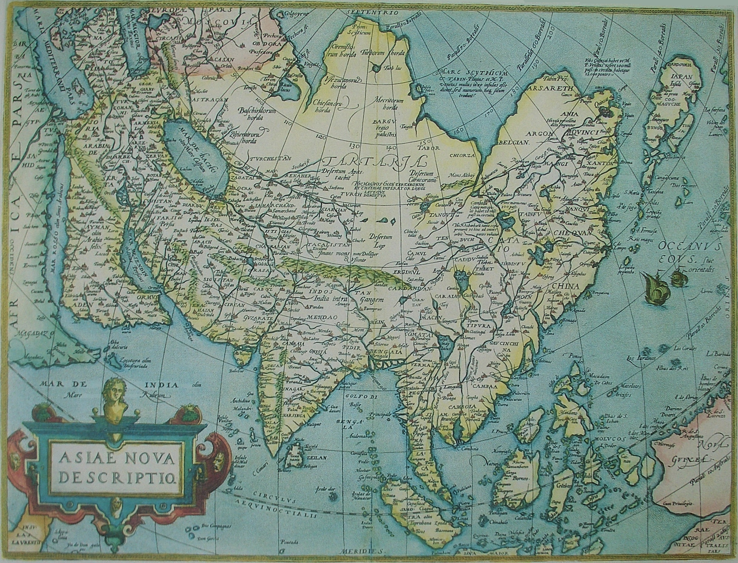 Map, Asiae Nova Descriptio (Asia, New Description) produced in 1570 by Abraham Ortelius (Hong_Kong_University)