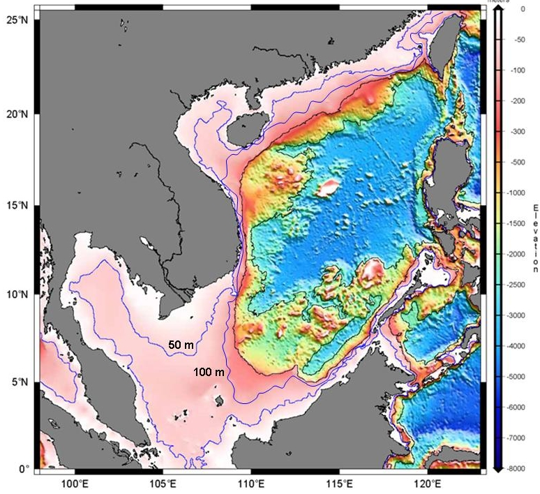 Map illustrating bathymetry of the South China Sea near the Sunda region (Anderson, 2014, adapted from World Data System for Marine Environmental Sciences