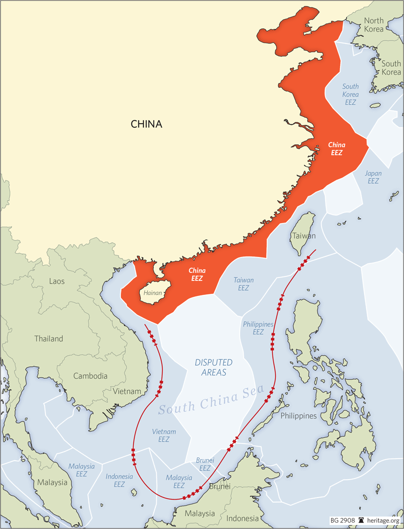 Map illustrating China's Economic Zone relative to disputed areas and the EEZ's of effected nations