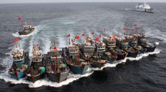 Photo of Chinese fishing boats and maritime militias, with the assitance of the Chinese Coast Guard, 16 Nov 2011, practicing blockade maneuvers (CIMSEC, 2011)