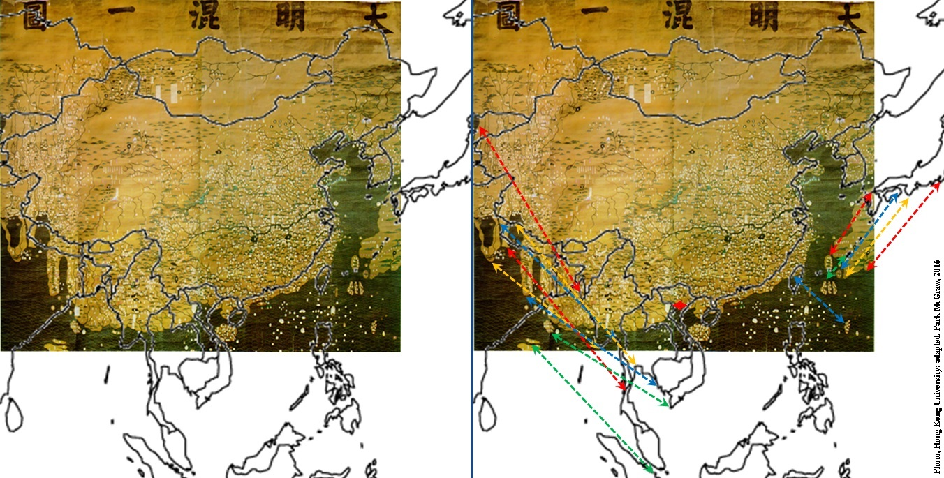 The Da Ming Hun Yi Tu with overlay map of Eastern Asia highlighting charting errors