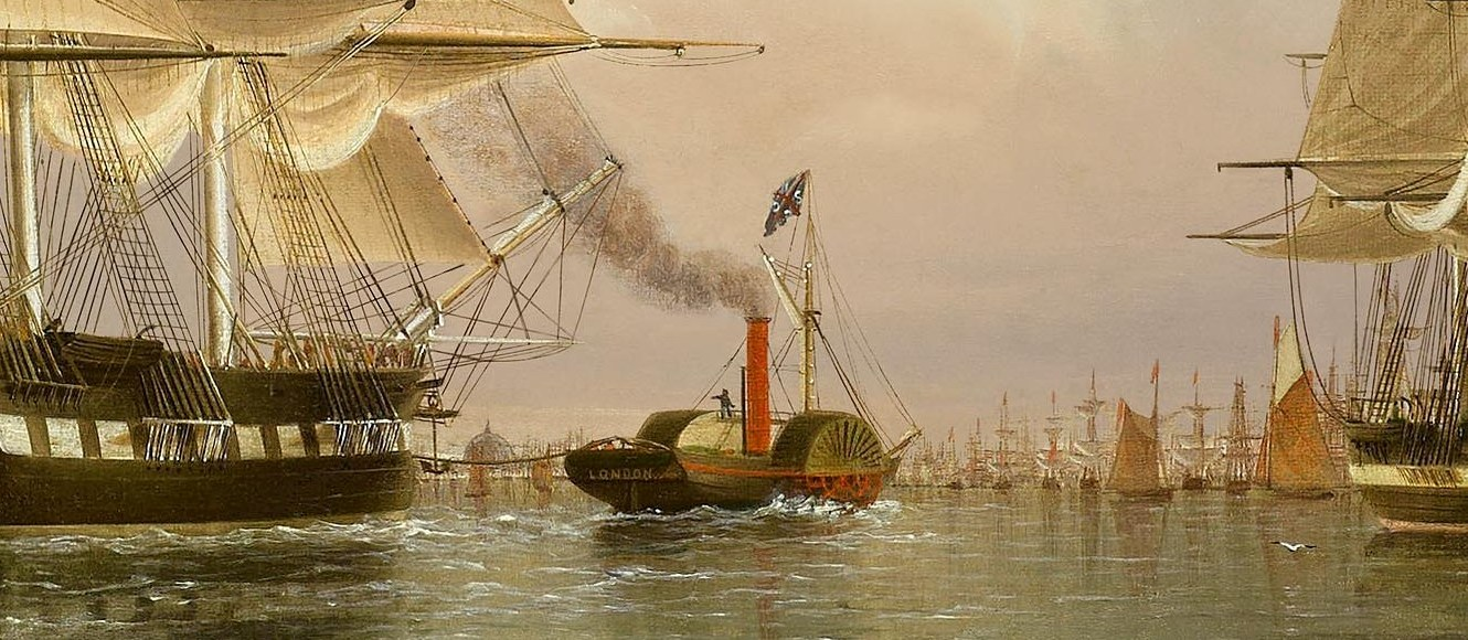 Section from the painting by James Buttersworth titled, Enterprise of New York Arrives in London (Buttersworth, 1849) centered about the tugboat London