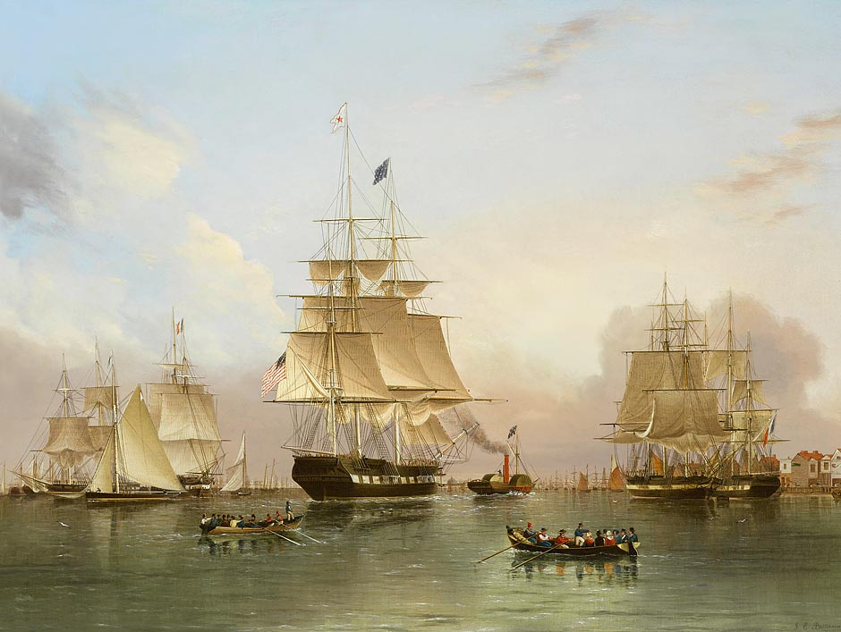 Painting of the extreme clipper by James Edward Buttersworth titled, Enterprise of New York Arrives in London (Buttersworth, 1849)