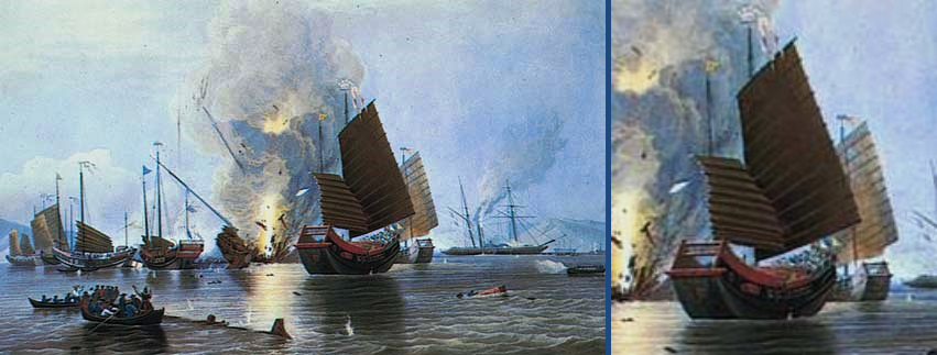 Painting depicting the British and Chinese Opium War, First Battle of Chuenpee 穿鼻 (Chuān bí), Nov 1839