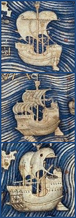 Vessels with inflated non batten, gaff raised sails, interpreted to be Chinese Junks, Fra Mauro's mappa mundi ca. 1457-1459