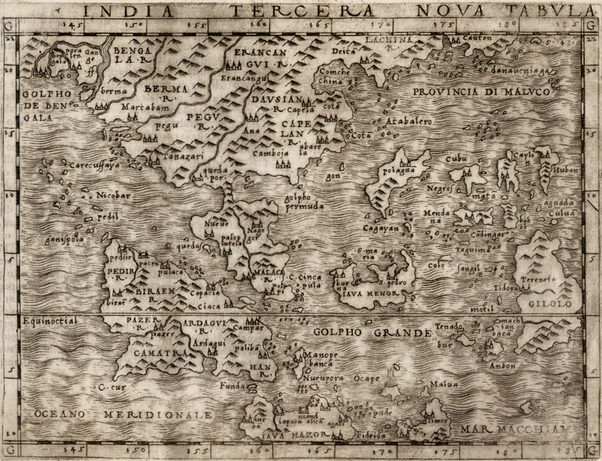 Giacomo Gastaldi 1548 map titled India Tercera Nova Tabula (from Gastaldi's edition of Ptolemy's Geographia) - Malay Peninsula