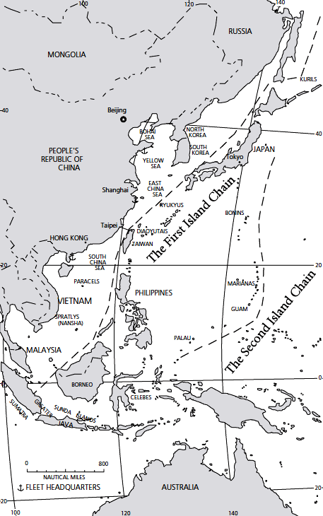 Map illustrating the first and second island defense strategy for China by Lamothe
