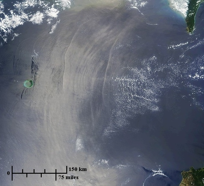 Photo of gaint wave formations in the Luzon Strait region of the South China Sea imaged by NASA MODIS satellite