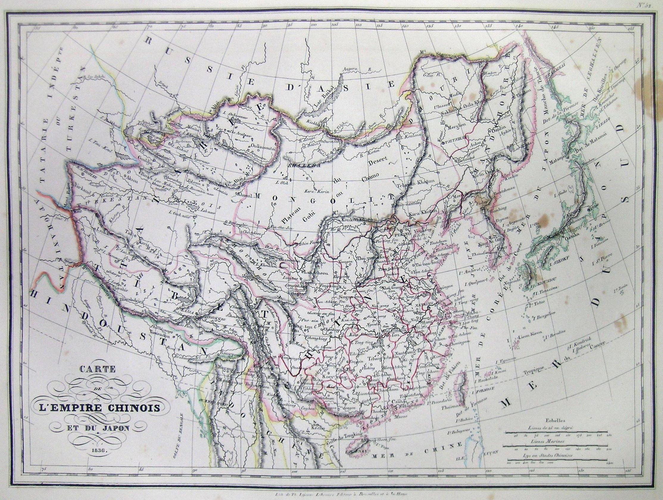 1836, printed in 1837 Carte L'Empire Chinois et du Japon