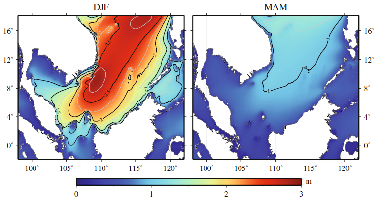 Illustration set showing the seasonal variation in the surface height of the South China Sea