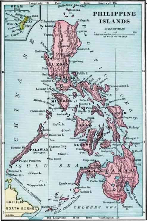 Map of US Philippines, 1899