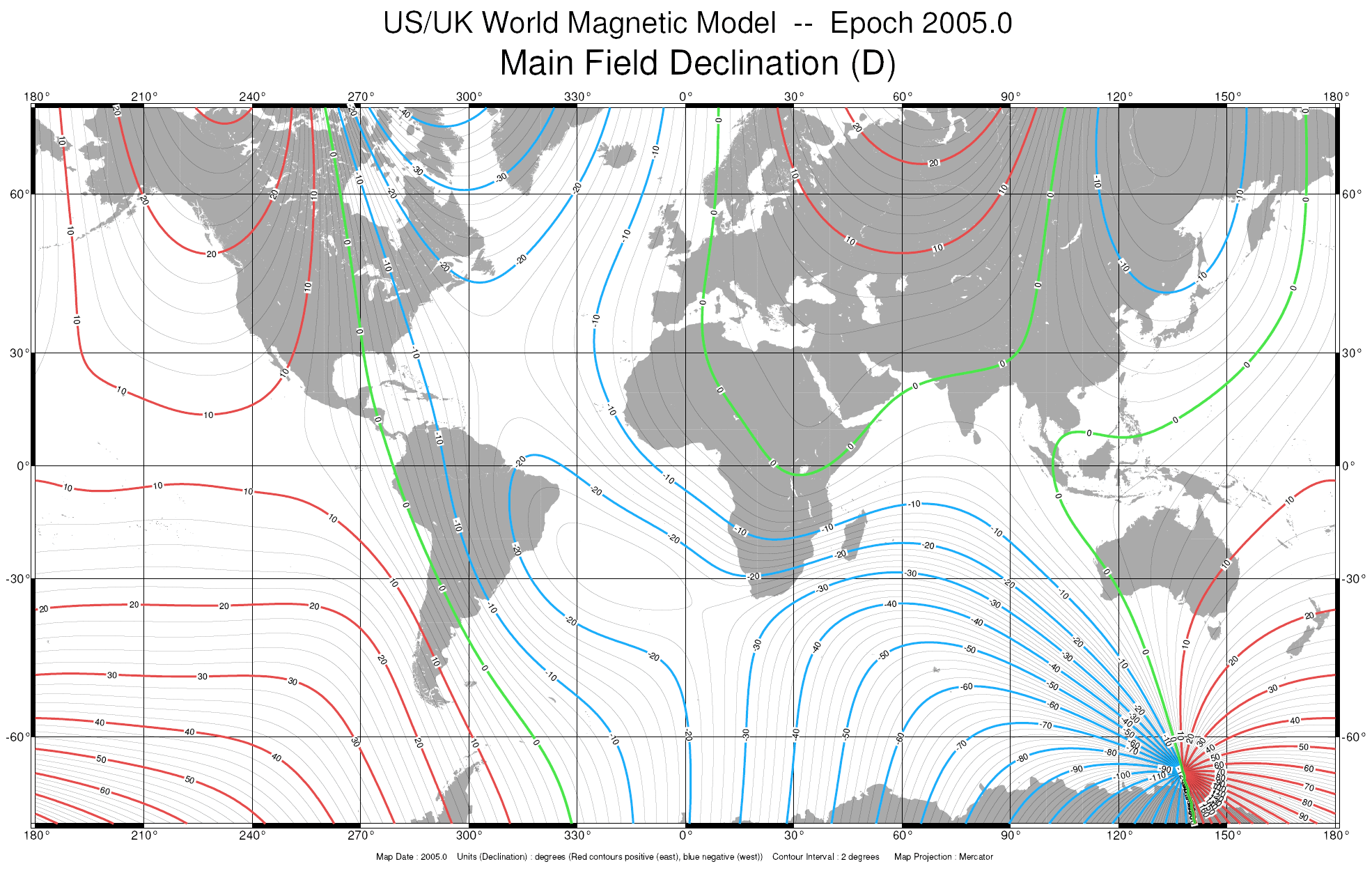 World Magnetic Declination Values, epoch 2005