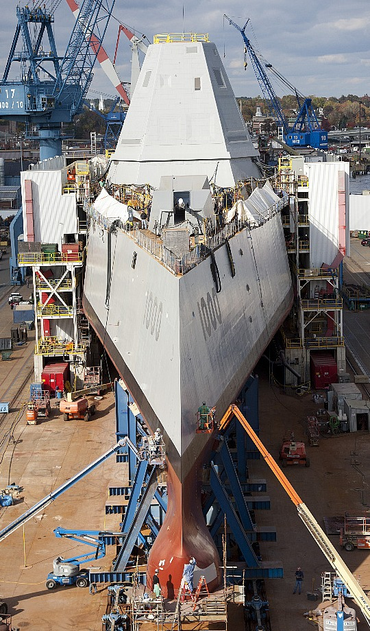 Tumblehome bow section, USS Zumwalt DDG 1000, Bath Iron Works, Maine