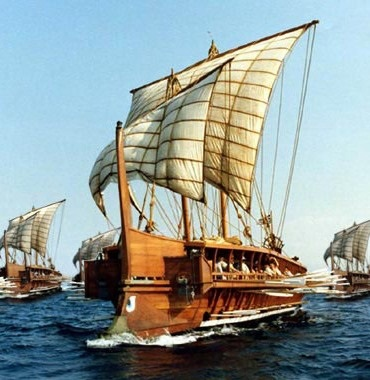 Illustration of Greek trireme galley, Peloponnesian War (406-404 BCE)