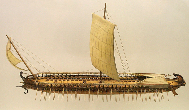 Model of Greek trireme galley, Peloponnesian War (406-404 BCE)