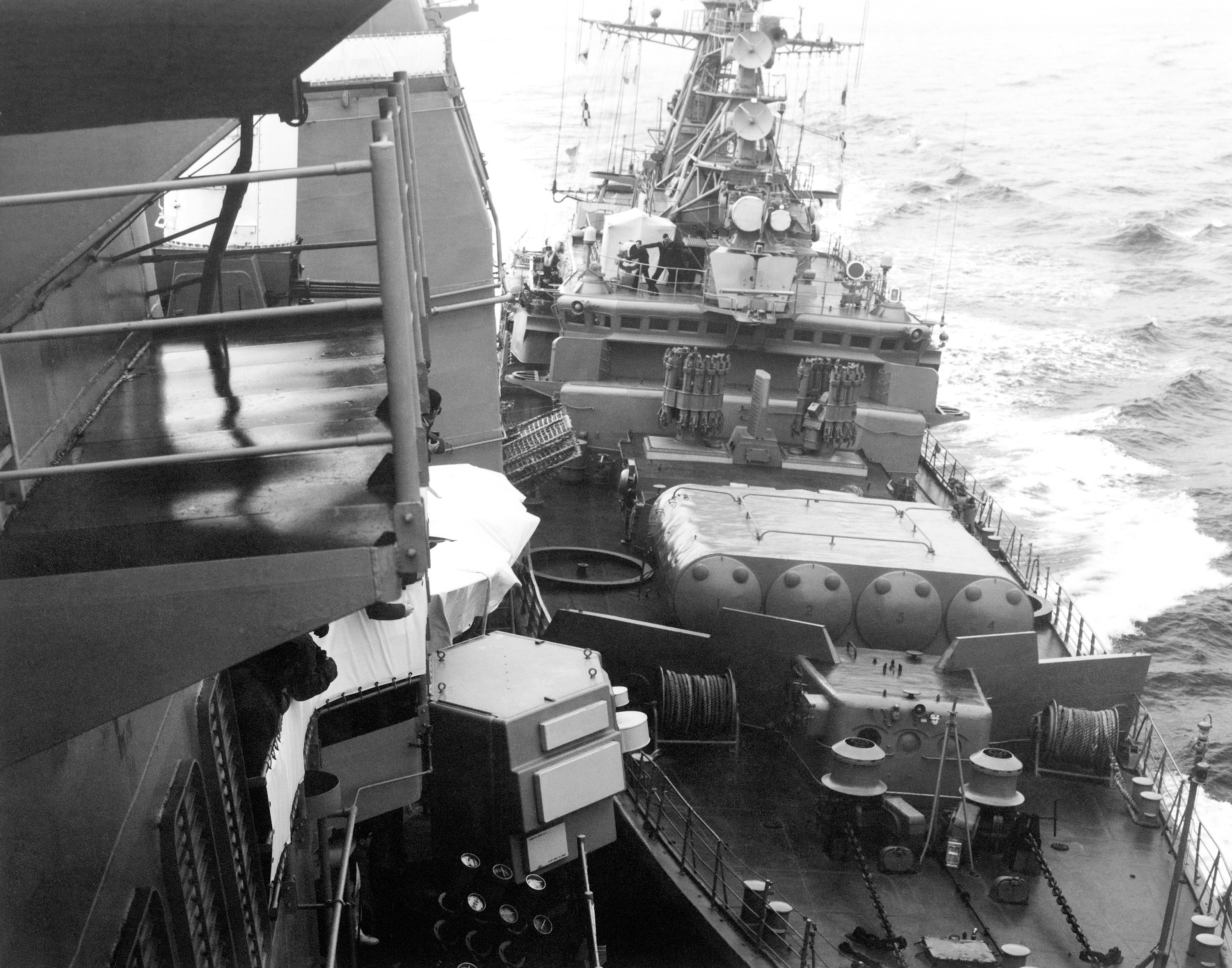 Soviet Krivak I class guided missile frigate Bezzavetny (FFG 811) as it impacts guided missile cruiser USS Yorktown (CG 48), on 12 February 1988